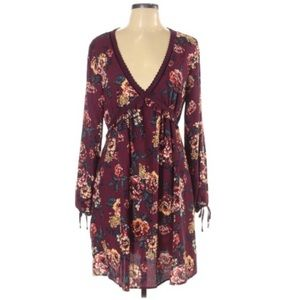Xhilaration floral ruched burgundy fall dress XS